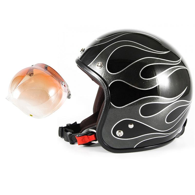 72JAM デザイナーズジェットヘルメット [JCP-42] 開閉シールド付き [JCBN-04]FLAMES フレイムス ブラック [ブラックフレークベースグロス仕上げ]FREEサイズ(57-60cm未満) メンズ レディース 兼用品 SG規格 全排気量対応