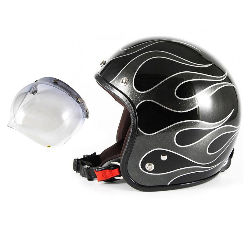 72JAM デザイナーズジェットヘルメット [JCP-42] 開閉シールド付き [JCBN-05]FLAMES フレイムス ブラック [ブラックフレークベースグロス仕上げ]FREEサイズ(57-60cm未満) メンズ レディース 兼用品 SG規格 全排気量対応
