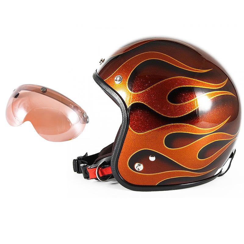72JAM デザイナーズジェットヘルメット [JCP-43] 開閉シールド付き [APS-05]FLAMES フレイムス オレンジ [オレンジフレークベースグロス仕上げ]FREEサイズ(57-60cm未満) メンズ レディース 兼用品 SG規格 全排気量対応