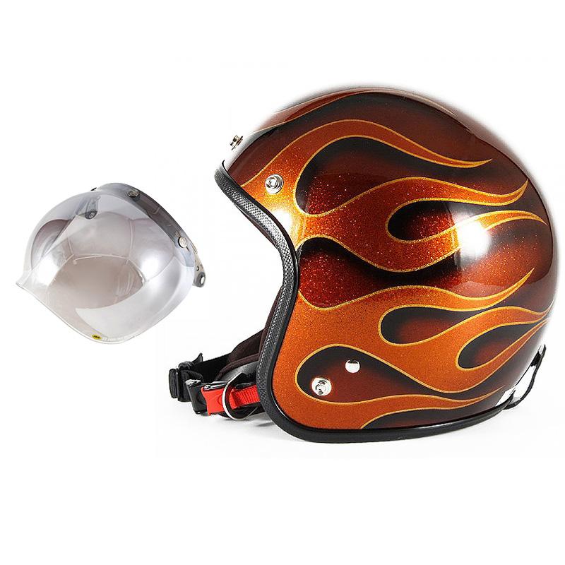 72JAM デザイナーズジェットヘルメット [JCP-43] 開閉シールド付き [JCBN-03]FLAMES フレイムス オレンジ [オレンジフレークベースグロス仕上げ]FREEサイズ(57-60cm未満) メンズ レディース 兼用品 SG規格 全排気量対応
