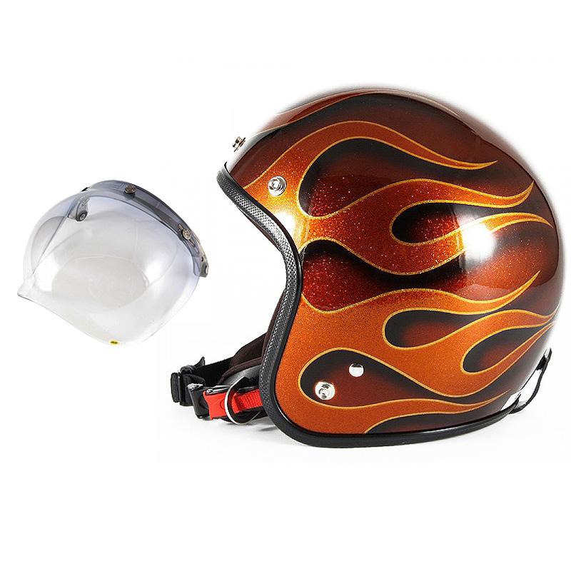 72JAM デザイナーズジェットヘルメット [JCP-43] 開閉シールド付き [JCBN-05]FLAMES フレイムス オレンジ [オレンジフレークベースグロス仕上げ]FREEサイズ(57-60cm未満) メンズ レディース 兼用品 SG規格 全排気量対応