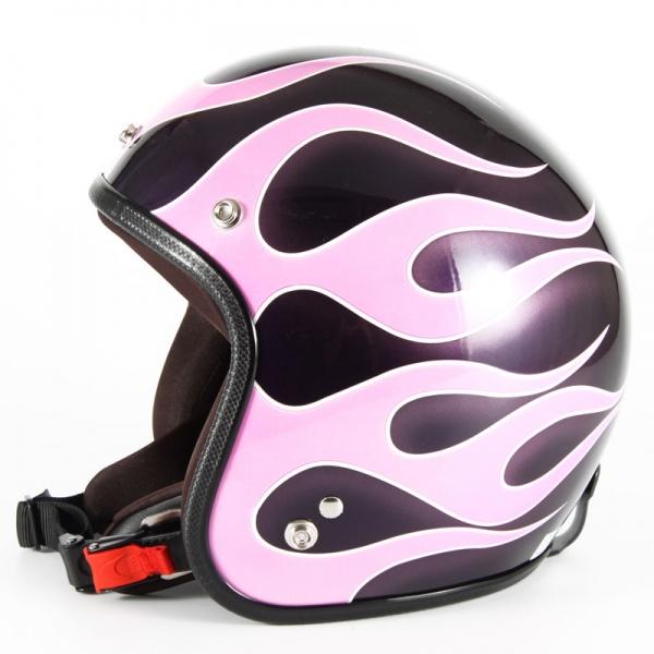 ジャムテックジャパン 72JAM JCP-44FLAMES フレイムス ピンク レディース ジェットヘルメット [ミスティーバイオレットベースグロス仕上げ]レディースサイズ(55-57cm未満) レディース SG規格 全排気量対応