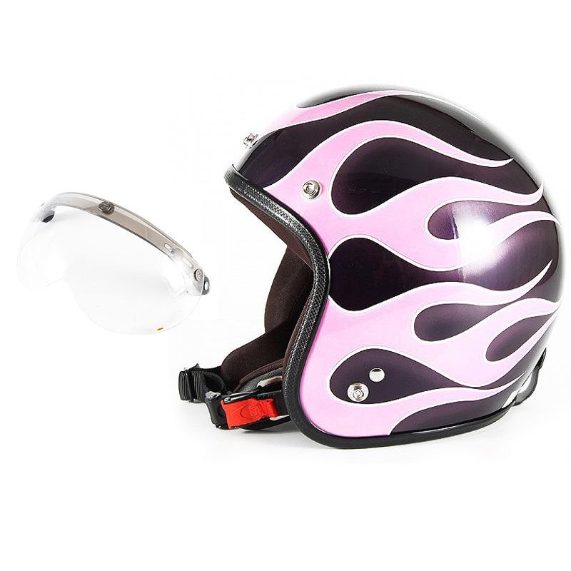 72JAM デザイナーズジェットヘルメット [JCP-44] 開閉シールド付き [APS-01]FLAMES フレイムス ピンク レディース [ミスティーバイオレットベースグロス仕上げ]レディースサイズ(55-57cm未満) レディース SG規格 全排気量対応