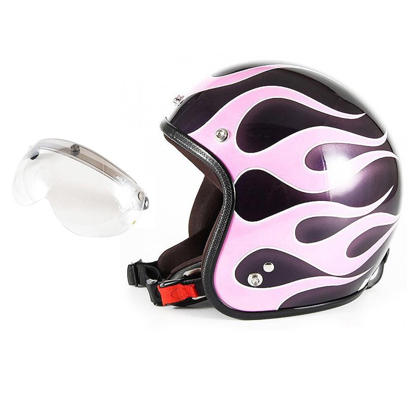 72JAM デザイナーズジェットヘルメット [JCP-44] 開閉シールド付き [APS-02]FLAMES フレイムス ピンク レディース [ミスティーバイオレットベースグロス仕上げ]レディースサイズ(55-57cm未満) レディース SG規格 全排気量対応