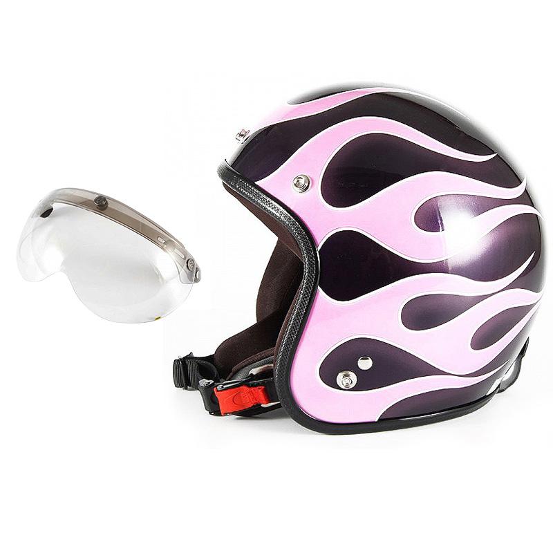 72JAM デザイナーズジェットヘルメット [JCP-44] 開閉シールド付き [APS-03]FLAMES フレイムス ピンク レディース [ミスティーバイオレットベースグロス仕上げ]レディースサイズ(55-57cm未満) レディース SG規格 全排気量対応