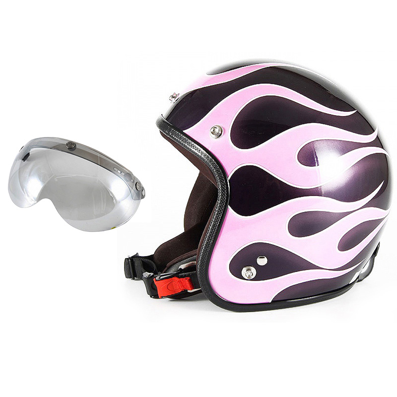 72JAM デザイナーズジェットヘルメット [JCP-44] 開閉シールド付き [APS-04]FLAMES フレイムス ピンク レディース [ミスティーバイオレットベースグロス仕上げ]レディースサイズ(55-57cm未満) レディース SG規格 全排気量対応