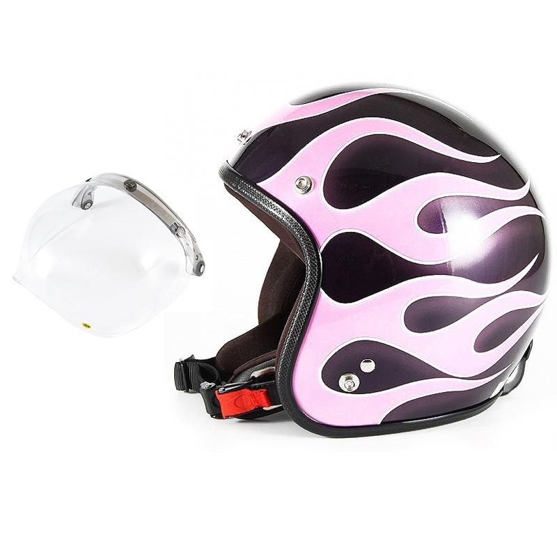 72JAM デザイナーズジェットヘルメット [JCP-44] 開閉シールド付き [JCBN-01]FLAMES フレイムス ピンク レディース [ミスティーバイオレットベースグロス仕上げ]レディースサイズ(55-57cm未満) レディース SG規格 全排気量対応
