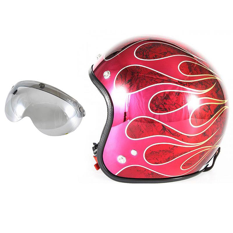 72JAM デザイナーズジェットヘルメット [JCP-45] 開閉シールド付き [APS-04]FLAMES T-2 フレイムス レッド [レッドメッキベースラップエフェクトグロス仕上げ]FREEサイズ(57-60cm未満) メンズ レディース 兼用品 SG規格 全排気量対応
