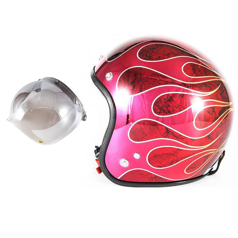 72JAM デザイナーズジェットヘルメット [JCP-45] 開閉シールド付き [JCBN-03]FLAMES T-2 フレイムス レッド [レッドメッキベースラップエフェクトグロス仕上げ]FREEサイズ(57-60cm未満) メンズ レディース 兼用品 SG規格 全排気量対応