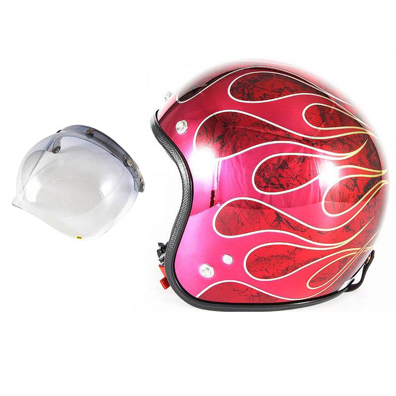 72JAM デザイナーズジェットヘルメット [JCP-45] 開閉シールド付き [JCBN-05]FLAMES T-2 フレイムス レッド [レッドメッキベースラップエフェクトグロス仕上げ]FREEサイズ(57-60cm未満) メンズ レディース 兼用品 SG規格 全排気量対応