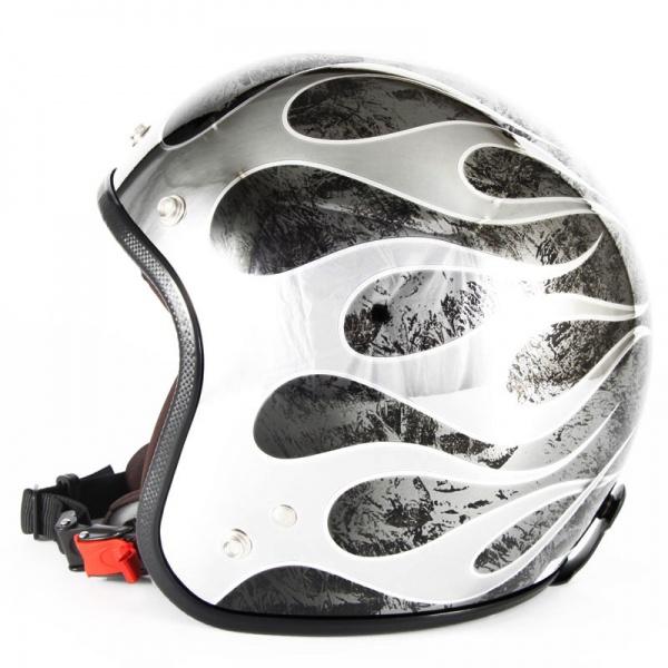 ジャムテックジャパン 72JAM JCP-46FLAMES T-2 フレイムス ブラック ジェットヘルメット [ブラックメッキベースラップエフェクトグロス仕上げ]FREEサイズ(57-60cm未満) メンズ レディース 兼用品 SG規格 全排気量対応