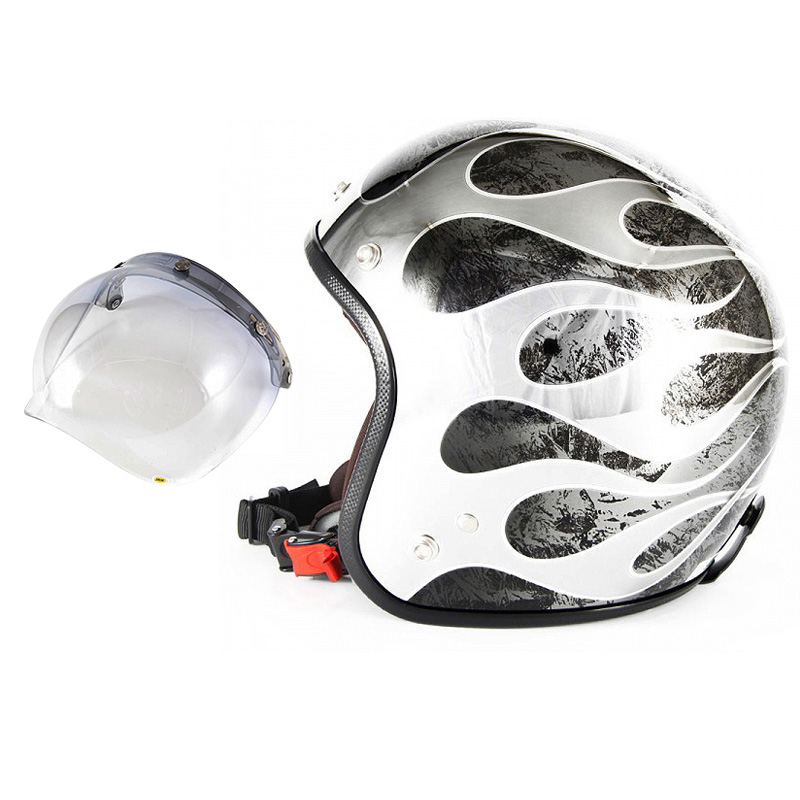 72JAM デザイナーズジェットヘルメット [JCP-46] 開閉シールド付き [JCBN-05]FLAMES T-2 フレイムス ブラック [ブラックメッキベースラップエフェクトグロス仕上げ]FREEサイズ(57-60cm未満) メンズ レディース 兼用品 SG規格 全排気量対応