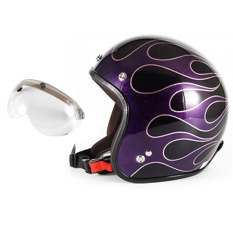 72JAM デザイナーズジェットヘルメット [JCP-47] 開閉シールド付き [APS-03]FLAMES フレイムス パープル レディース [パープルベースグロス仕上げ]レディースサイズ(55-57cm未満) レディース SG規格 全排気量対応
