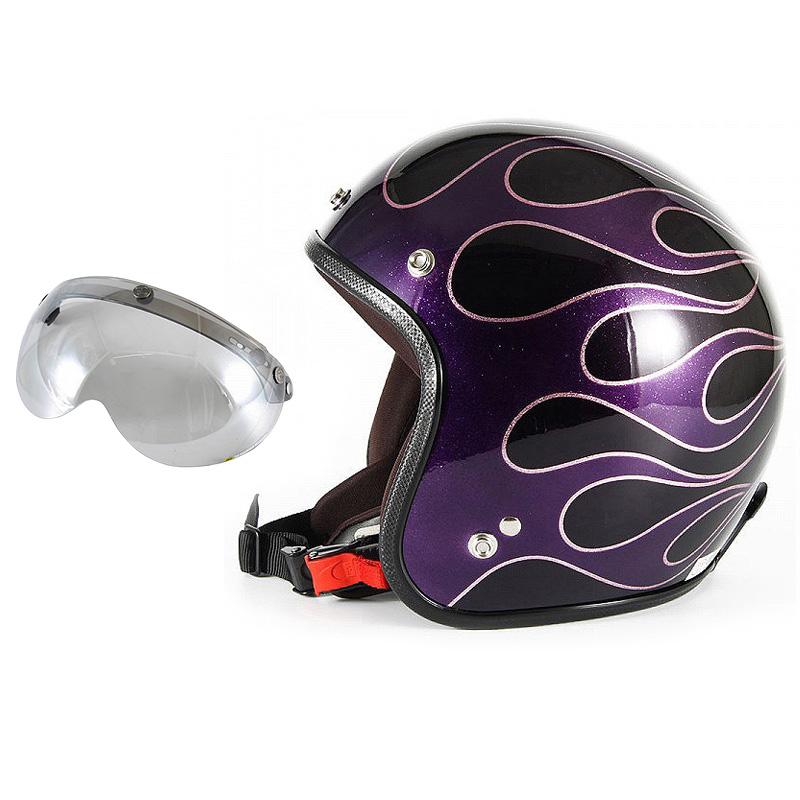 72JAM デザイナーズジェットヘルメット [JCP-47] 開閉シールド付き [APS-04]FLAMES フレイムス パープル レディース [パープルベースグロス仕上げ]レディースサイズ(55-57cm未満) レディース SG規格 全排気量対応