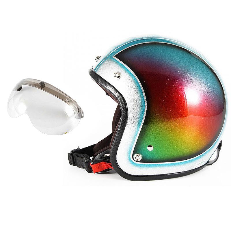 72JAM デザイナーズジェットヘルメット [JCP-48] 開閉シールド付き [APS-03]Metal Snake メタルスネーク ブルー [ブルーシルバーフレークベースグロス仕上げ]FREEサイズ(57-60cm未満) メンズ レディース 兼用品 SG規格 全排気量対応