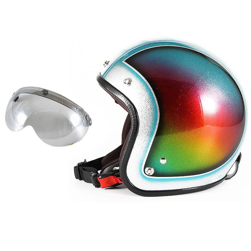 72JAM デザイナーズジェットヘルメット [JCP-48] 開閉シールド付き [APS-04]Metal Snake メタルスネーク ブルー [ブルーシルバーフレークベースグロス仕上げ]FREEサイズ(57-60cm未満) メンズ レディース 兼用品 SG規格 全排気量対応
