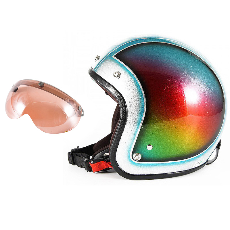 72JAM デザイナーズジェットヘルメット [JCP-48] 開閉シールド付き [APS-05]Metal Snake メタルスネーク ブルー [ブルーシルバーフレークベースグロス仕上げ]FREEサイズ(57-60cm未満) メンズ レディース 兼用品 SG規格 全排気量対応