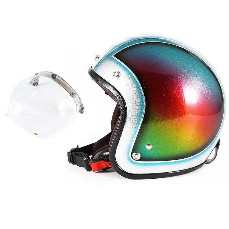 72JAM デザイナーズジェットヘルメット [JCP-48] 開閉シールド付き [JCBN-01]Metal Snake メタルスネーク ブルー [ブルーシルバーフレークベースグロス仕上げ]FREEサイズ(57-60cm未満) メンズ レディース 兼用品 SG規格 全排気量対応