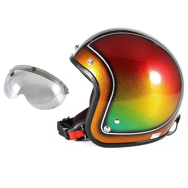 72JAM デザイナーズジェットヘルメット [JCP-49] 開閉シールド付き [APS-04]Metal Snake メタルスネーク ブラウン [ブラウンシルバーフレークベースグロス仕上げFREEサイズ(57-60cm未満) メンズ レディース 兼用品 SG規格 全排気量対応