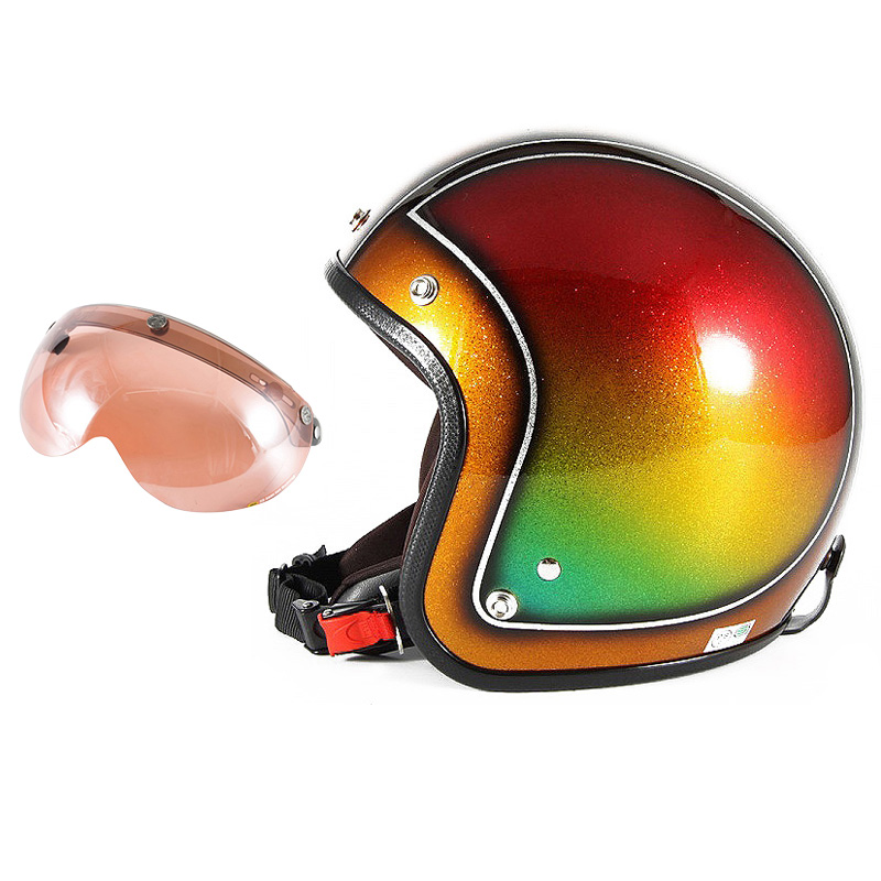 72JAM デザイナーズジェットヘルメット [JCP-49] 開閉シールド付き [APS-05]Metal Snake メタルスネーク ブラウン [ブラウンシルバーフレークベースグロス仕上げFREEサイズ(57-60cm未満) メンズ レディース 兼用品 SG規格 全排気量対応