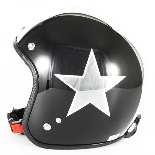 ジャムテックジャパン 72JAM JCP-50BLACK STAR ブラックスター ブラック ジェットヘルメット [ピアノブラック/メッキ]FREEサイズ(57-60cm未満) メンズ レディース 兼用品 SG規格 全排気量対応