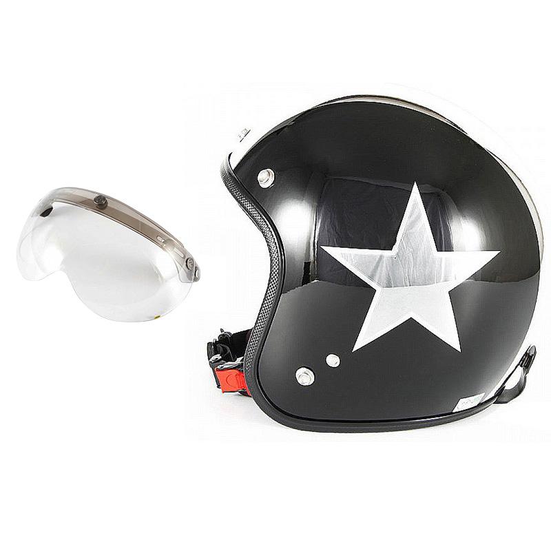 72JAM デザイナーズジェットヘルメット [JCP-50] 開閉シールド付き [APS-03]BLACK STAR ブラックスター ブラック [ピアノブラック/メッキ]FREEサイズ(57-60cm未満) メンズ レディース 兼用品 SG規格 全排気量対応