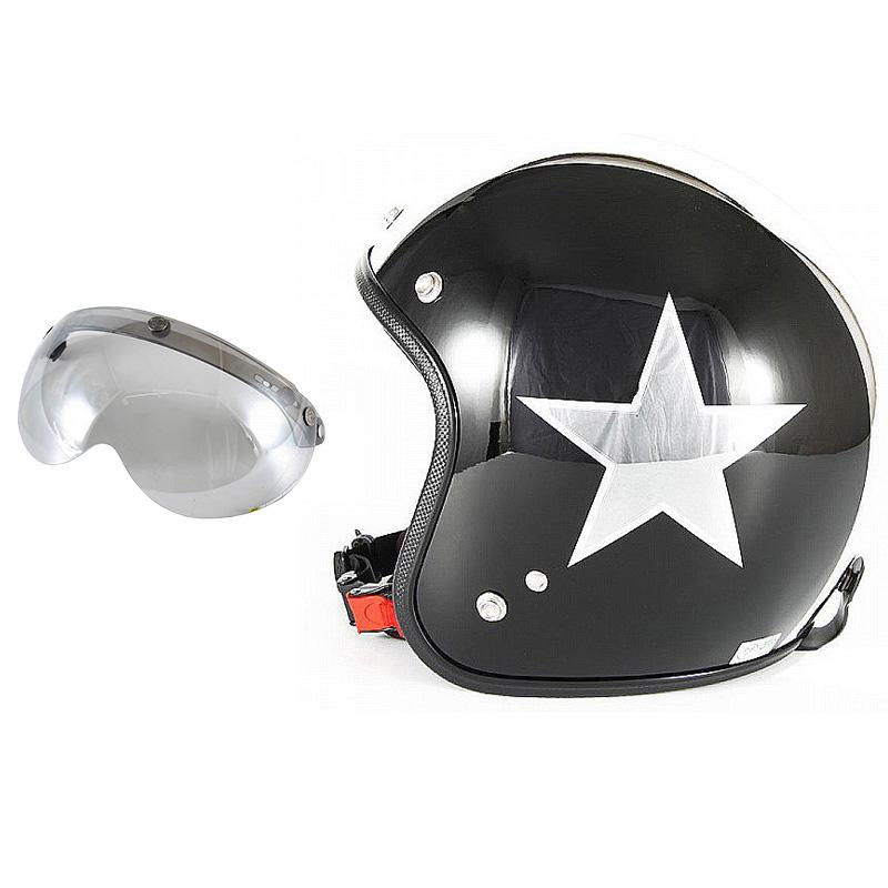 72JAM デザイナーズジェットヘルメット [JCP-50] 開閉シールド付き [APS-04]BLACK STAR ブラックスター ブラック [ピアノブラック/メッキ]FREEサイズ(57-60cm未満) メンズ レディース 兼用品 SG規格 全排気量対応