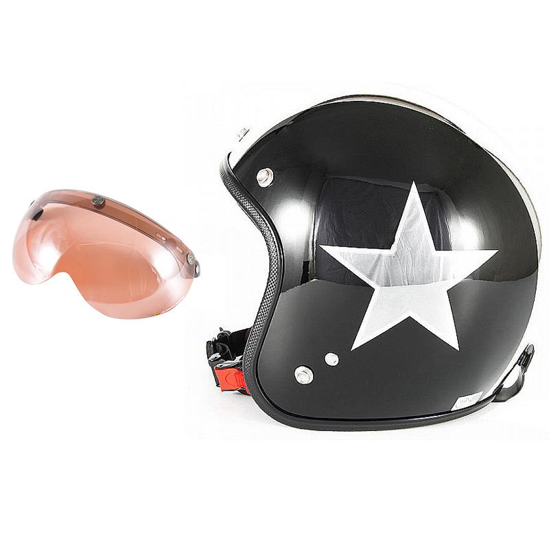 72JAM デザイナーズジェットヘルメット [JCP-50] 開閉シールド付き [APS-05]BLACK STAR ブラックスター ブラック [ピアノブラック/メッキ]FREEサイズ(57-60cm未満) メンズ レディース 兼用品 SG規格 全排気量対応