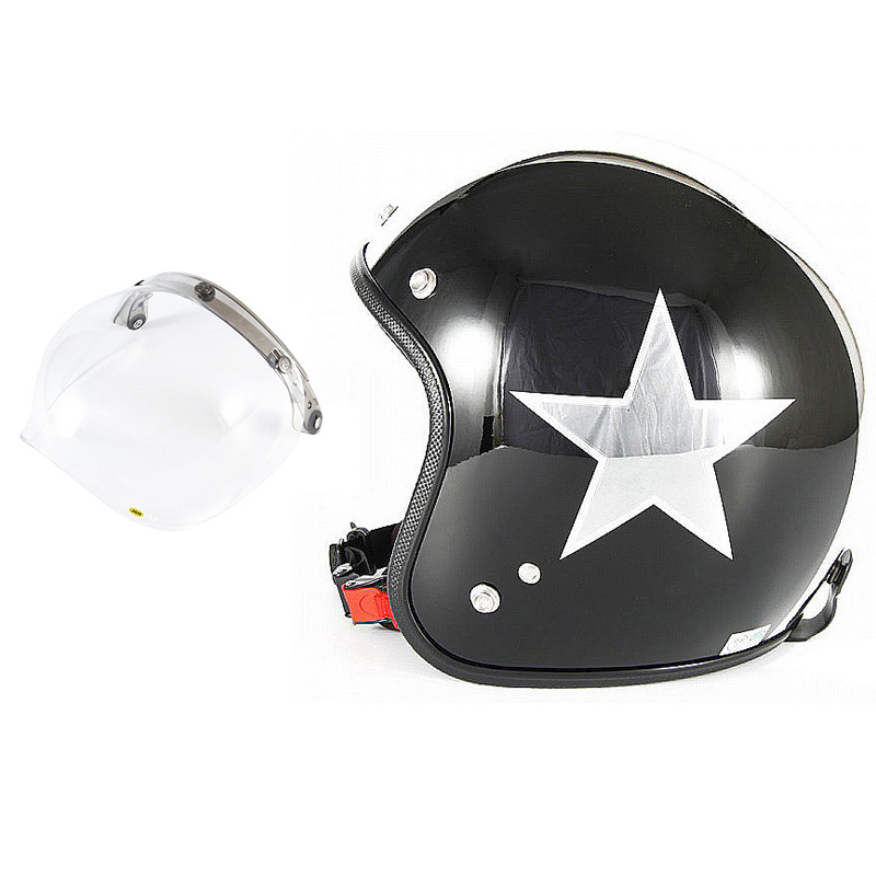 72JAM デザイナーズジェットヘルメット [JCP-50] 開閉シールド付き [JCBN-01]BLACK STAR ブラックスター ブラック [ピアノブラック/メッキ]FREEサイズ(57-60cm未満) メンズ レディース 兼用品 SG規格 全排気量対応