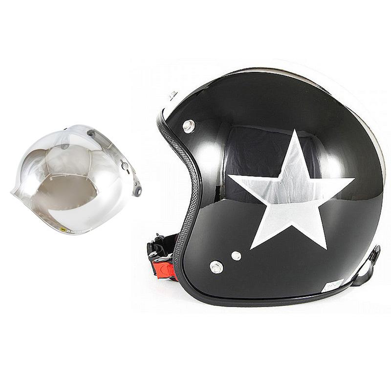 72JAM デザイナーズジェットヘルメット [JCP-50] 開閉シールド付き [JCBN-02]BLACK STAR ブラックスター ブラック [ピアノブラック/メッキ]FREEサイズ(57-60cm未満) メンズ レディース 兼用品 SG規格 全排気量対応