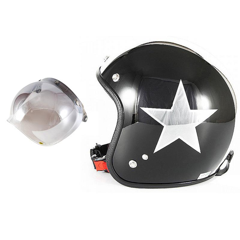 72JAM デザイナーズジェットヘルメット [JCP-50] 開閉シールド付き [JCBN-03]BLACK STAR ブラックスター ブラック [ピアノブラック/メッキ]FREEサイズ(57-60cm未満) メンズ レディース 兼用品 SG規格 全排気量対応