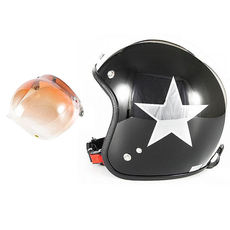 72JAM デザイナーズジェットヘルメット [JCP-50] 開閉シールド付き [JCBN-04]BLACK STAR ブラックスター ブラック [ピアノブラック/メッキ]FREEサイズ(57-60cm未満) メンズ レディース 兼用品 SG規格 全排気量対応