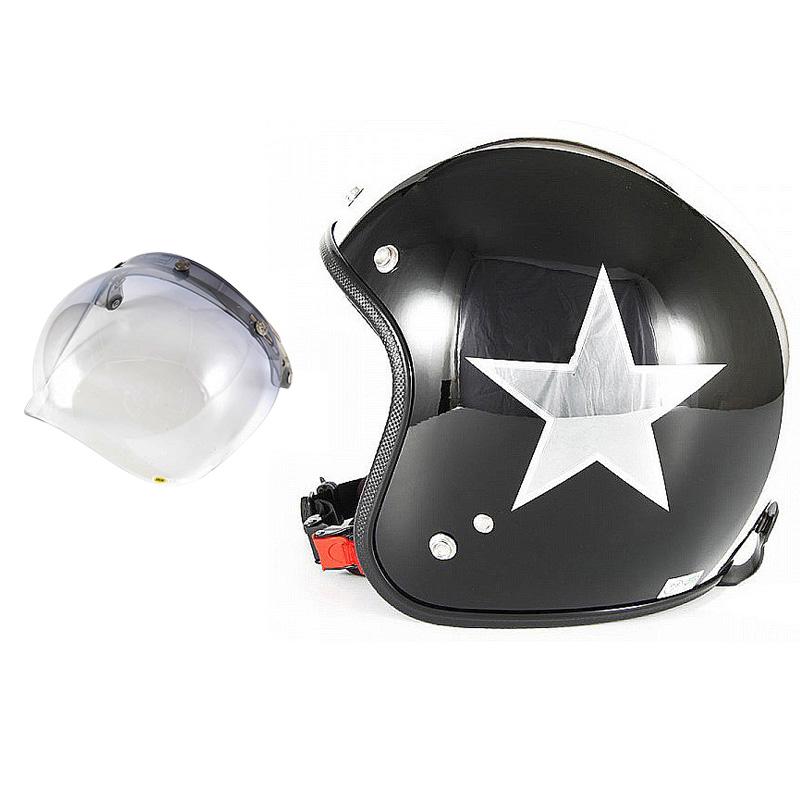 72JAM デザイナーズジェットヘルメット [JCP-50] 開閉シールド付き [JCBN-05]BLACK STAR ブラックスター ブラック [ピアノブラック/メッキ]FREEサイズ(57-60cm未満) メンズ レディース 兼用品 SG規格 全排気量対応