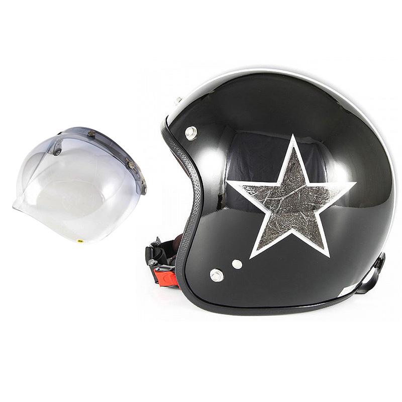 72JAM デザイナーズジェットヘルメット [JCP-51] 開閉シールド付き [JCBN-05]STAR DUST スターダスト ブラック [ピアノブラック/メッキラップエフェクト]FREEサイズ(57-60cm未満) メンズ レディース 兼用品 SG規格 全排気量対応