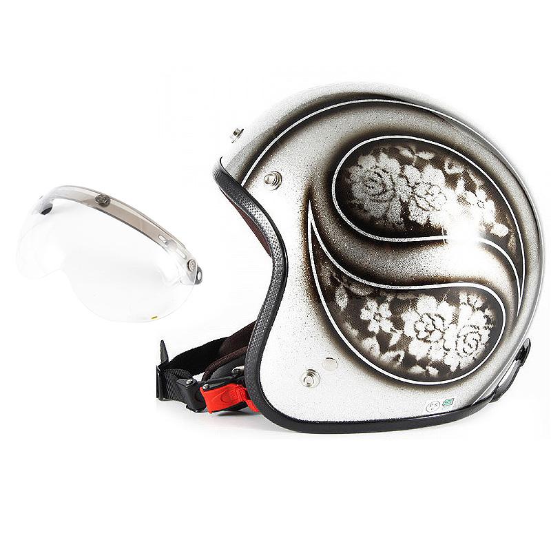 72JAM デザイナーズジェットヘルメット [JCP-52] 開閉シールド付き [APS-01]ROSA ローサ シルバー レディース [シルバーフレークベースグロス仕上げ]レディースサイズ(55-57cm未満) レディース SG規格 全排気量対応