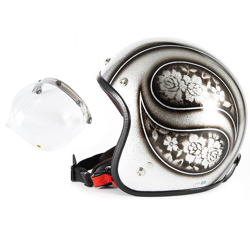 72JAM デザイナーズジェットヘルメット [JCP-52] 開閉シールド付き [JCBN-01]ROSA ローサ シルバー レディース [シルバーフレークベースグロス仕上げ]レディースサイズ(55-57cm未満) レディース SG規格 全排気量対応