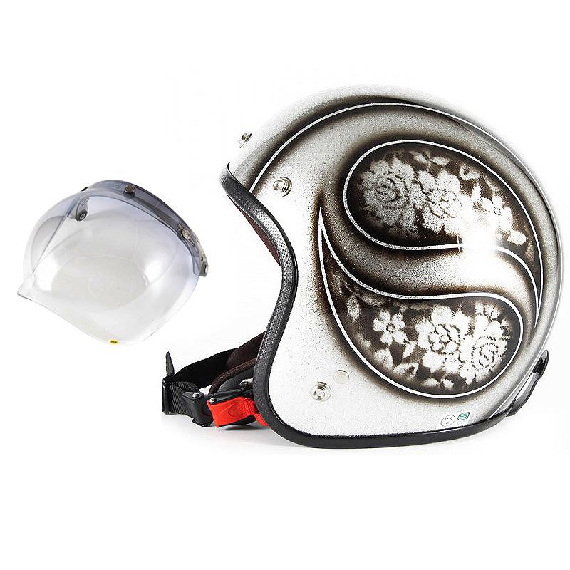 72JAM デザイナーズジェットヘルメット [JCP-52] 開閉シールド付き [JCBN-05]ROSA ローサ シルバー レディース [シルバーフレークベースグロス仕上げ]レディースサイズ(55-57cm未満) レディース SG規格 全排気量対応