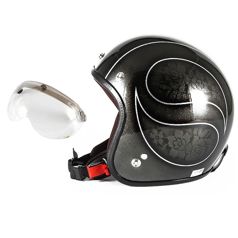 72JAM デザイナーズジェットヘルメット [JCP-54] 開閉シールド付き [APS-03]ROSA ローサ ブラック レディース [ブラックフレークベースグロス仕上げ]レディースサイズ(55-57cm未満) レディース SG規格 全排気量対応