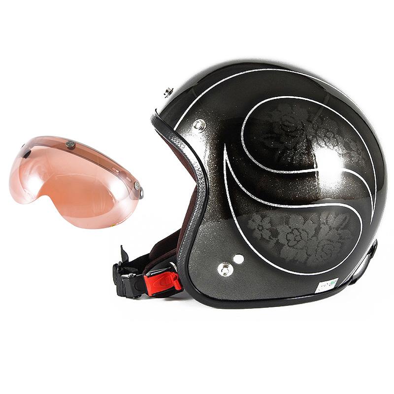 72JAM デザイナーズジェットヘルメット [JCP-54] 開閉シールド付き [APS-05]ROSA ローサ ブラック レディース [ブラックフレークベースグロス仕上げ]レディースサイズ(55-57cm未満) レディース SG規格 全排気量対応