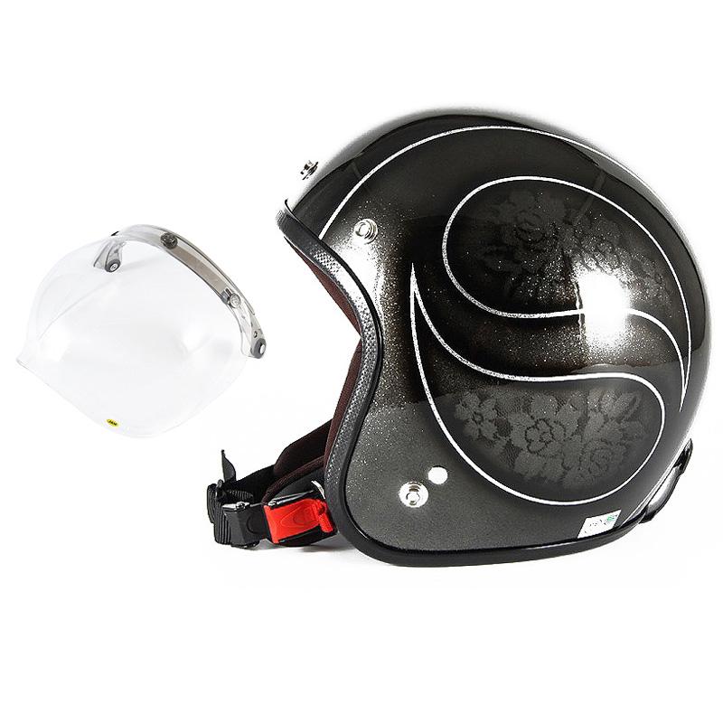 72JAM デザイナーズジェットヘルメット [JCP-54] 開閉シールド付き [JCBN-01]ROSA ローサ ブラック レディース [ブラックフレークベースグロス仕上げ]レディースサイズ(55-57cm未満) レディース SG規格 全排気量対応