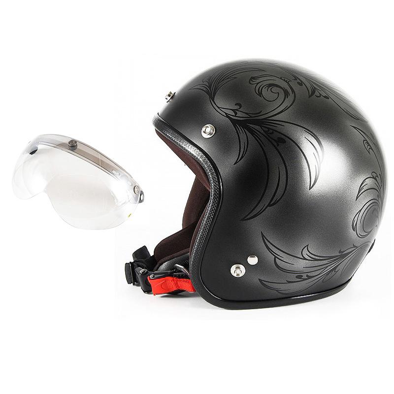 72JAM デザイナーズジェットヘルメット [JCP-55] 開閉シールド付き [APS-02]Leaf リーフ シルバー/ブラック レディース [シルバー/ブラックマット仕上げ]レディースサイズ(55-57cm未満) レディース SG規格 全排気量対応