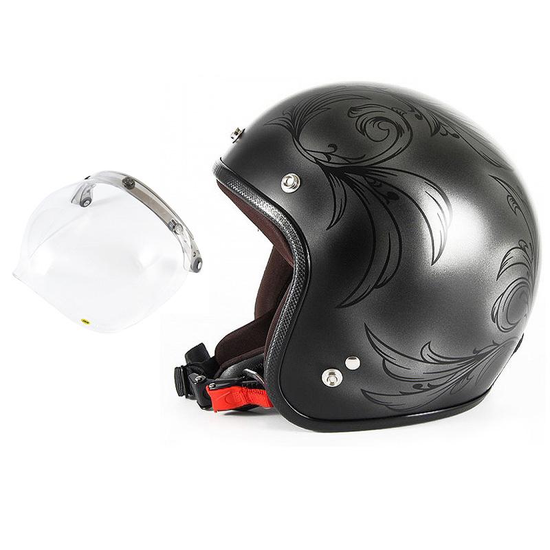 72JAM デザイナーズジェットヘルメット [JCP-55] 開閉シールド付き [JCBN-01]Leaf リーフ シルバー/ブラック レディース [シルバー/ブラックマット仕上げ]レディースサイズ(55-57cm未満) レディース SG規格 全排気量対応