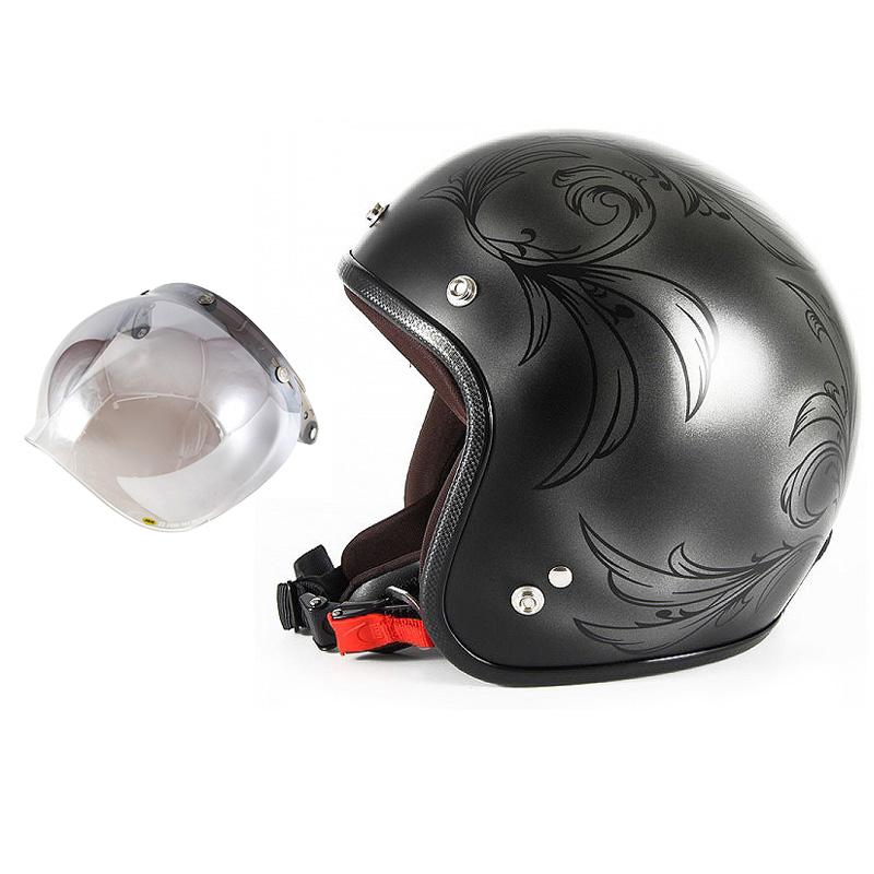 72JAM デザイナーズジェットヘルメット [JCP-55] 開閉シールド付き [JCBN-03]Leaf リーフ シルバー/ブラック レディース [シルバー/ブラックマット仕上げ]レディースサイズ(55-57cm未満) レディース SG規格 全排気量対応