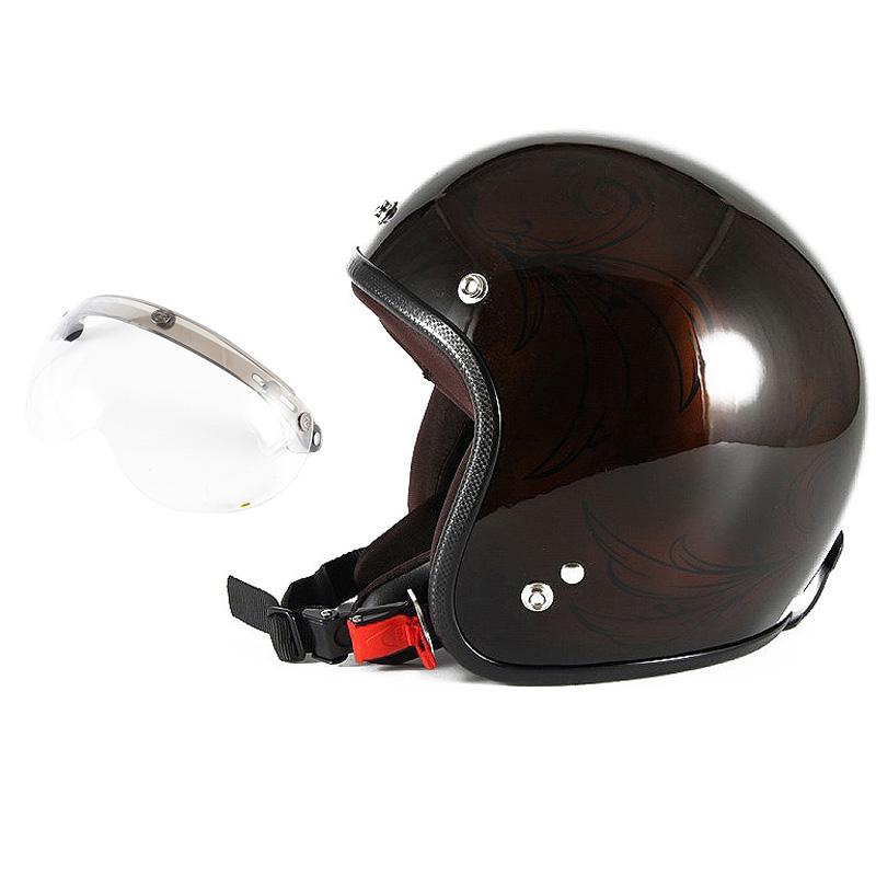 72JAM デザイナーズジェットヘルメット [JCP-56] 開閉シールド付き [APS-01]Leaf リーフ ブラウン/ブラック レディース [ブラウン/ブラックグロス仕上げ]レディースサイズ(55-57cm未満) レディース SG規格 全排気量対応