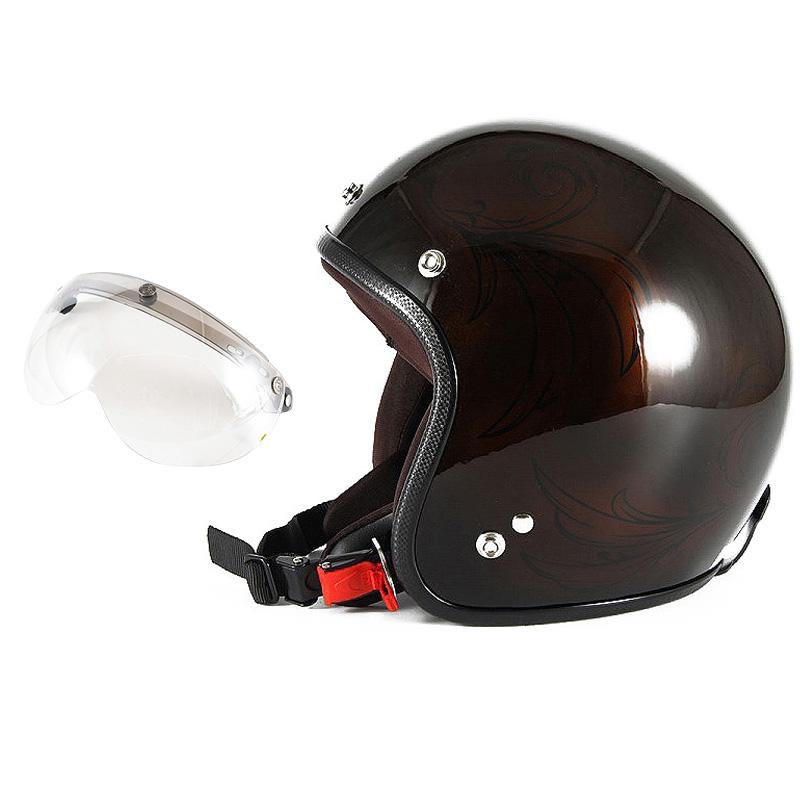 72JAM デザイナーズジェットヘルメット [JCP-56] 開閉シールド付き [APS-02]Leaf リーフ ブラウン/ブラック レディース [ブラウン/ブラックグロス仕上げ]レディースサイズ(55-57cm未満) レディース SG規格 全排気量対応