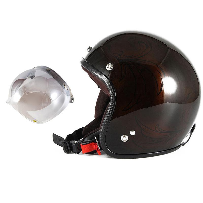 72JAM デザイナーズジェットヘルメット [JCP-56] 開閉シールド付き [JCBN-03]Leaf リーフ ブラウン/ブラック レディース [ブラウン/ブラックグロス仕上げ]レディースサイズ(55-57cm未満) レディース SG規格 全排気量対応