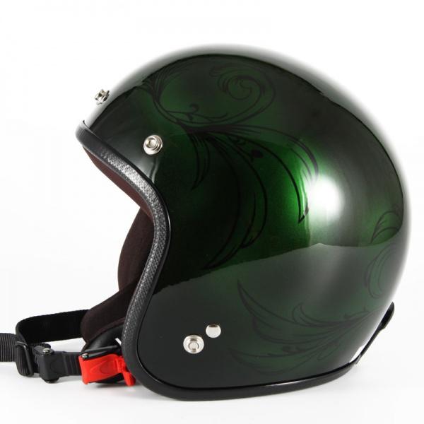 ジャムテックジャパン 72JAM JCP-57Leaf リーフ グリーン/ブラック レディース ジェットヘルメット [グリーン/ブラックグロス仕上げ]レディースサイズ(55-57cm未満) レディース SG規格 全排気量対応