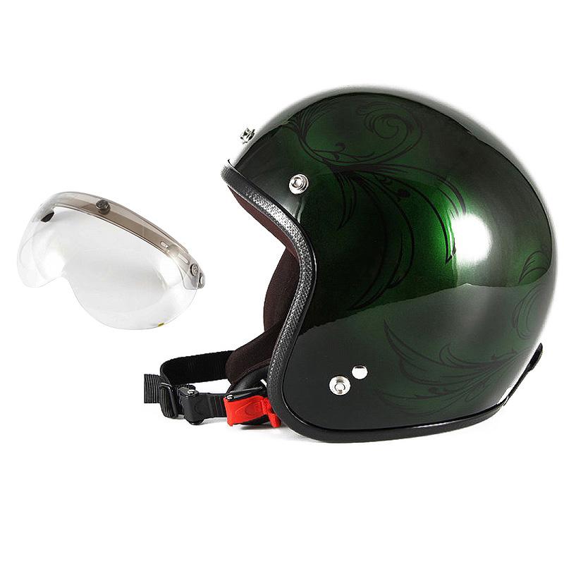 72JAM デザイナーズジェットヘルメット [JCP-57] 開閉シールド付き [APS-03]Leaf リーフ グリーン/ブラック レディース [グリーン/ブラックグロス仕上げ]レディースサイズ(55-57cm未満) レディース SG規格 全排気量対応