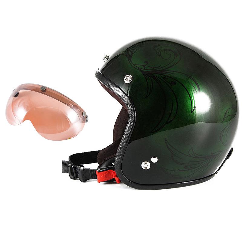 72JAM デザイナーズジェットヘルメット [JCP-57] 開閉シールド付き [APS-05]Leaf リーフ グリーン/ブラック レディース [グリーン/ブラックグロス仕上げ]レディースサイズ(55-57cm未満) レディース SG規格 全排気量対応
