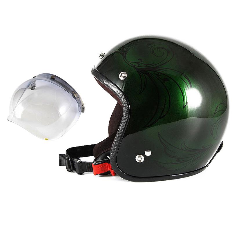 72JAM デザイナーズジェットヘルメット [JCP-57] 開閉シールド付き [JCBN-05]Leaf リーフ グリーン/ブラック レディース [グリーン/ブラックグロス仕上げ]レディースサイズ(55-57cm未満) レディース SG規格 全排気量対応